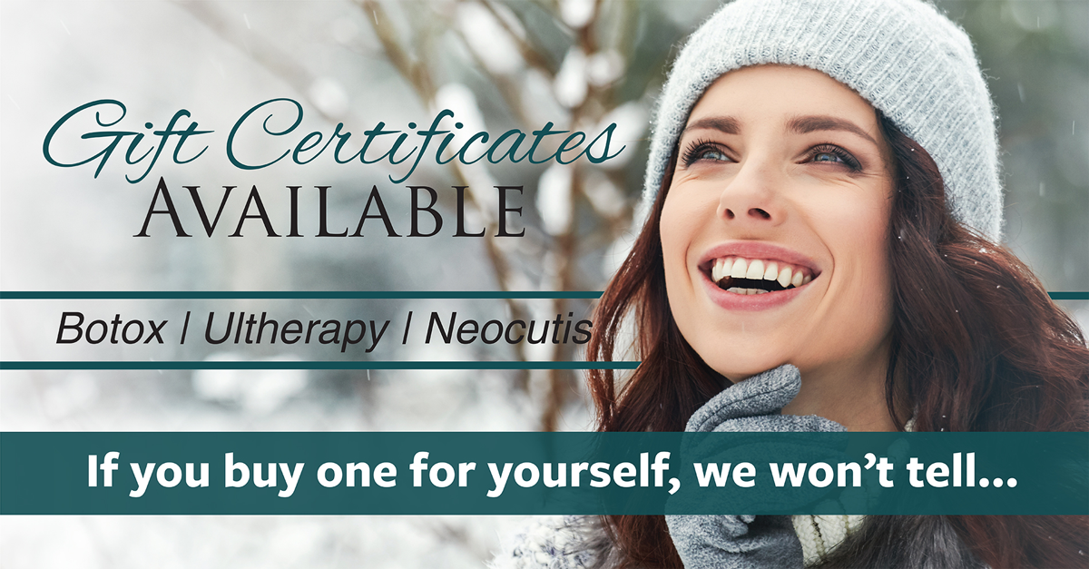 The Center For Facial Cosmtetics Flyer with Woman Smiling In the Snow